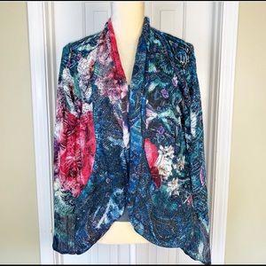 Alberto Makali Sweaters - Alberto Makali Floral Open Cardigan Size L